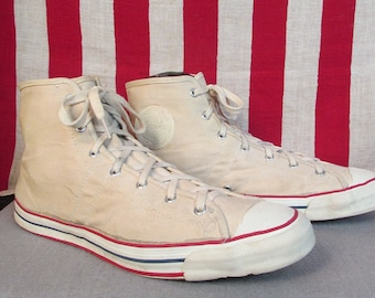 7c97bbbbd2a1 Vintage 1950s Jeepers Canvas High-Top Sneakers Sears Athletic Shoes Sz.14  Huge!