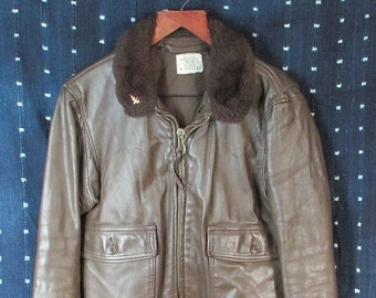 0408faad308 Vintage US Navy Brown Leather Flyers Flight Jacket Type G-1 Intermediate  Sz.40 Bomber