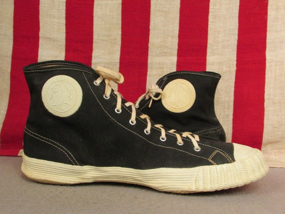 ab852aeb845b6 Vintage 1950s Bata Canvas Basketball Sneakers High Top Baseball Badges 9.5  NOS athletic Shoes