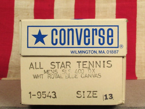Vintage 1980s Converse All Star Tennis Shoes Canvas Sneakers Original NOS Sz.13 w/Box