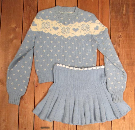 Vintage 1950s Ice Figure Skating Outfit Hand Knit