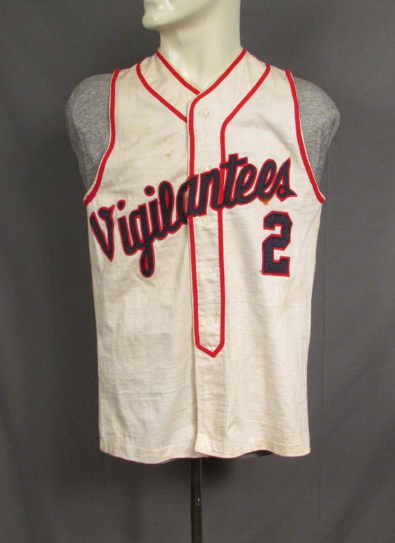 Vintage 1950s Vigilantees Baseball Uniform Shirt S