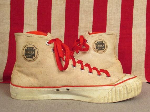 Vintage des années 1950 1950 1950 Top Notch «accroche» toile blanche Basketball Sneakers haut Sz.10 haut chaussures de sport   Une Performance Supérieure  ac7999