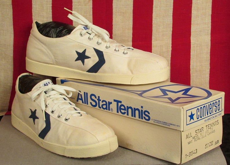 b362563a28e62a Vintage 1980s Converse All Star Tennis Shoes Canvas Sneakers