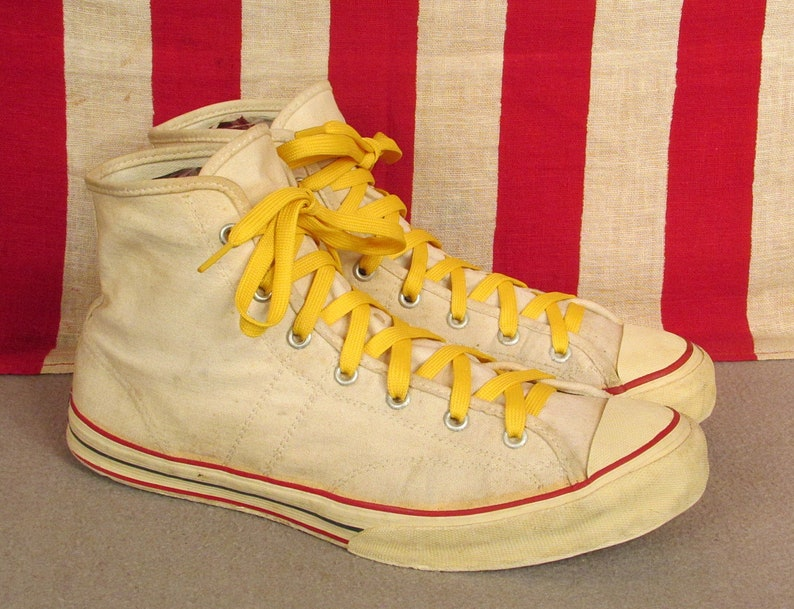 904659f7e8fe7 Vintage 1950s Jeepers White Canvas Basketball Sneakers Sears Athletic Shoes  9.5
