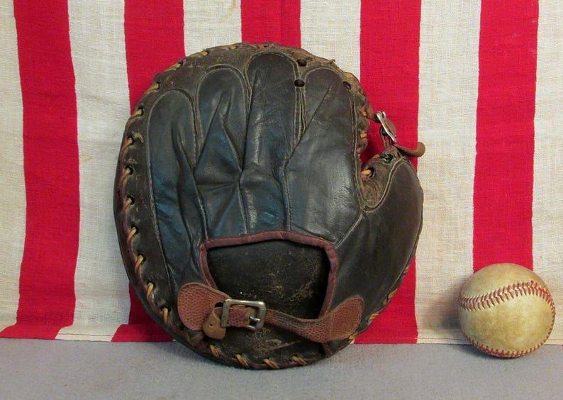 Vintage 1930s Denkert Leather Baseball Glove Catchers Mitt Etsy