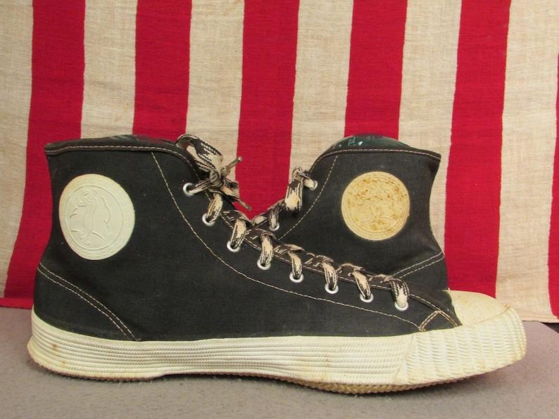 1d294ced27c14 Vintage 1950s Bata Black Canvas Basketball Sneakers Baseball Side Badges  9.5 NOS athletic shoes