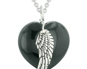 Guardian Angel Wing Inspirational Amulet Magic Puffy Heart Black Agate Pendant Necklace