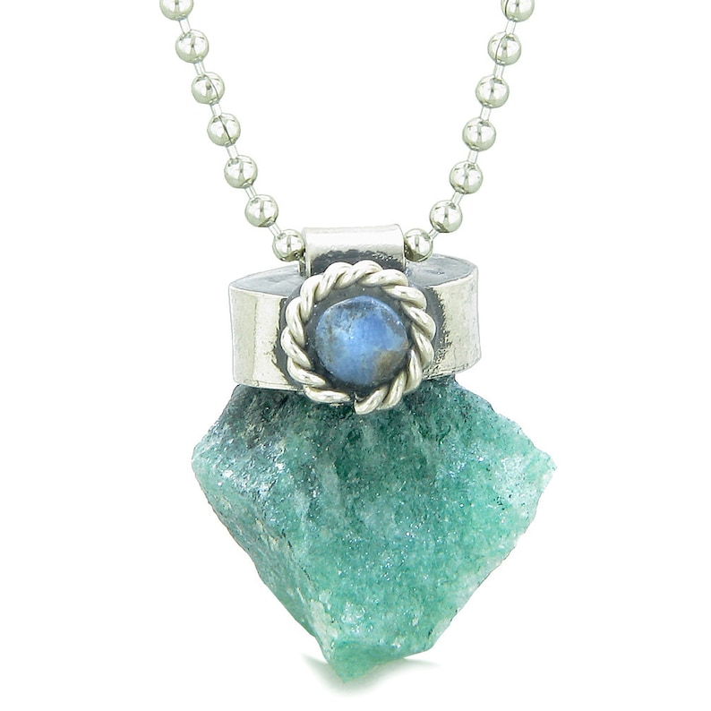 Handcrafted Free Form Rough Green Quartz and Sodalite Cabochon Amulet Pendant Necklace
