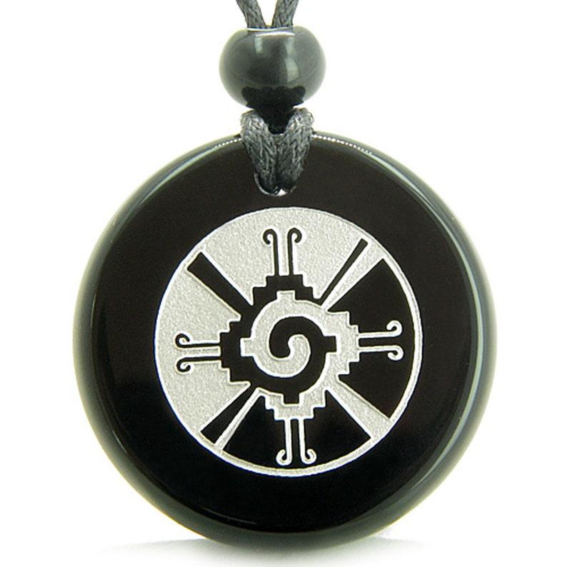 Amulet Mayan Unity of All Things Hunab Ku Black Agate ...