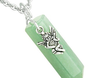 Amulet Archangel Thavael Magic Wand Crystal Point Aventurine Gemstone Positive and Spiritual Energy Pendant Necklace