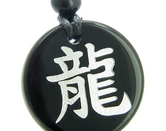 Amulet Emperor Kanji Dragon Symbol of Protection Powers Black Agate Pendant Necklace