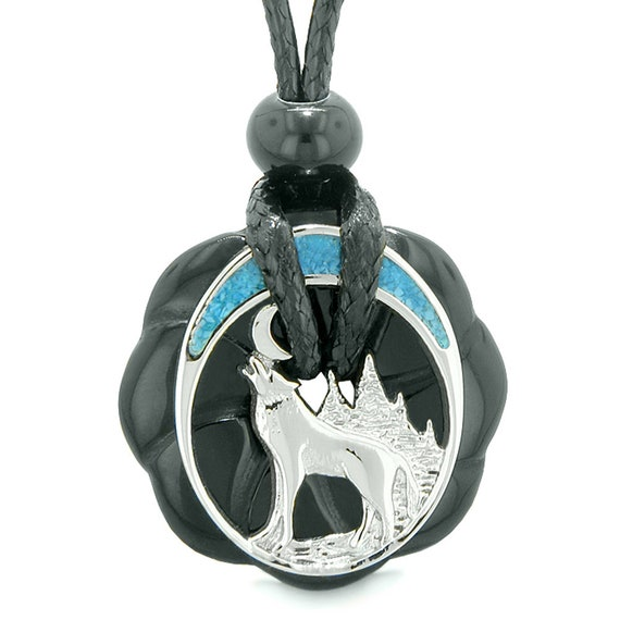 Amulet Howling Wolf Moon Green Quartz White Simulated Cats Eye Pendant 22 Inch Necklace