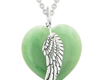Guardian Angel Wing Inspirational Amulet Magic Puffy Heart Green Quartz Pendant Necklace