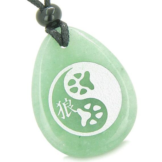 Amulet Wolf Paw Yin Yang Magic Kanji Good Luck Green Quartz Etsy