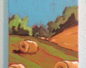 "Hayfield - Acrylic on canvas 8"" x 10"""