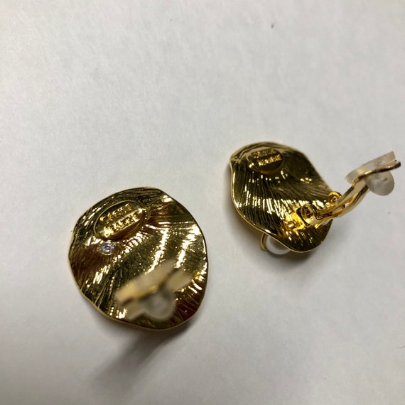CELINE earrings | gold Celine clip on pearl earri… - image 7
