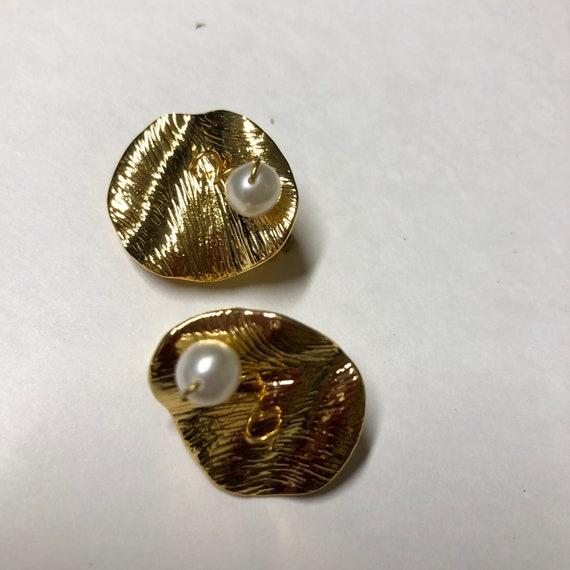 CELINE earrings | gold Celine clip on pearl earri… - image 8