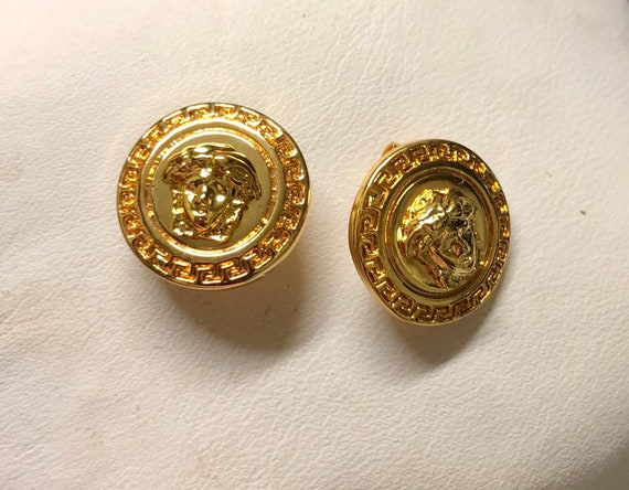 Small VERSACE earrings | Versace medusa gold fanc… - image 8
