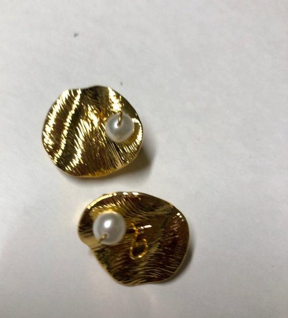 CELINE earrings | gold Celine clip on pearl earri… - image 5