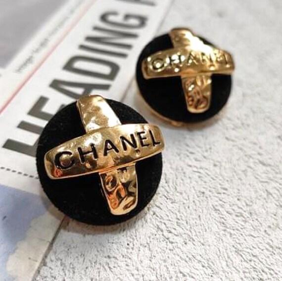 vintage CHANEL earrings | Black velvet and gold CC