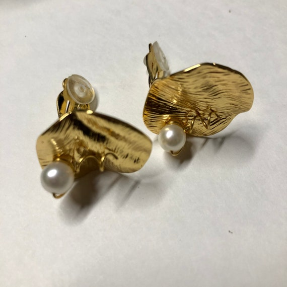 CELINE earrings | gold Celine clip on pearl earri… - image 4