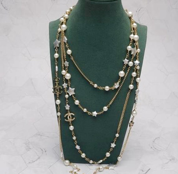 CHANEL necklace  gold white pearl CC Chanel chain