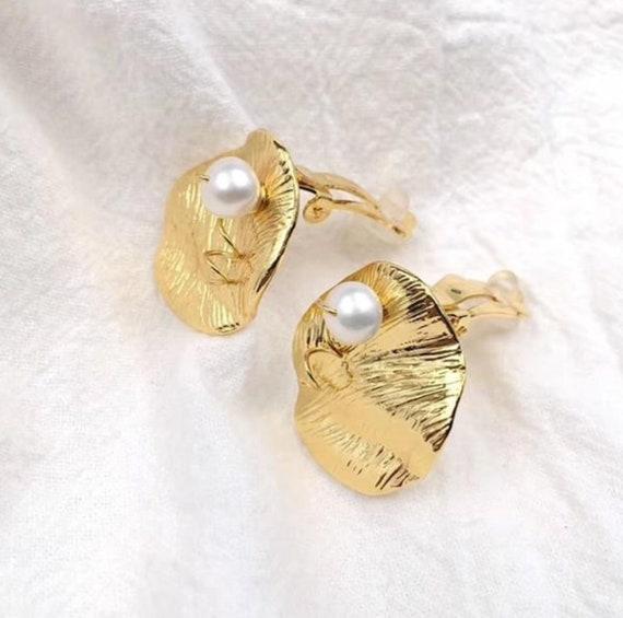 CELINE earrings | gold Celine clip on pearl earri… - image 1