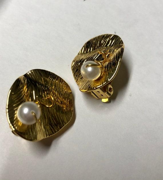 CELINE earrings | gold Celine clip on pearl earri… - image 6
