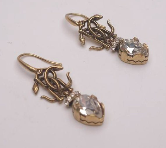 Roberto Cavalli earrings |  Crystal Pave Cavalli p