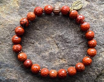 Yoga intention bracelet stone root chakra faceted Red Jasper Mala inspired boho jewelry handmade by Creations Mariposa BI-JR