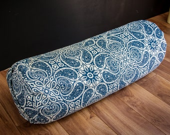 Yoga buckwheat Bolster Blue Mandala body pillow restorative practice yin by Creations Mariposa