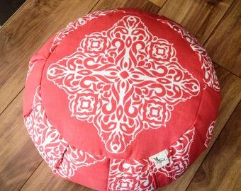 Meditation cushion zafu Coral Mandala cotton fabric with organic buckwheat hulls