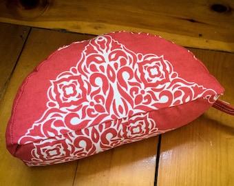 Crescent - Coral Mandala - Travel Meditation cushion organic buckwheat - handmade by Creations Mariposa
