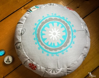 Traditional zafu Turquoise Mandala Meditation cushion organic buckwheat pillow handmade by Creations Mariposa