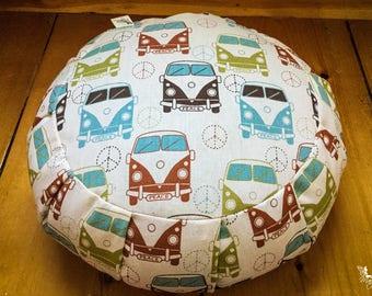 Traditional zafu - Wanderlust - Meditation cushion organic buckwheat pillow - handmade by Creations Mariposa