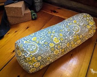 Yoga bolster Gray and Mustard flowers Organic buckwheat body pillow restorative practice handmade by Creations Mariposa