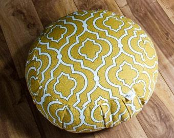 Traditional zafu organic buckwheat Meditation cushion Mustard Yellow cotton pouf with handle by Creations Mariposa