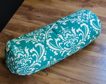 Yoga buckwheat Bolster Teal Damask body pillow restorative practice yin by Creations Mariposa