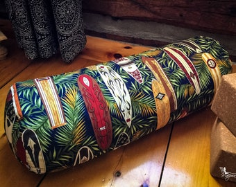 Yoga Bolster - Surf - buckwheat body pillow restorative practice - handmade by Creations Mariposa