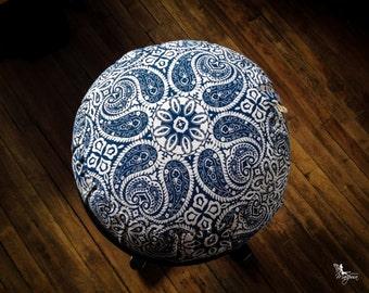 Traditional zafu Blue Mandala Meditation cushion organic buckwheat pillow handmade by Creations Mariposa