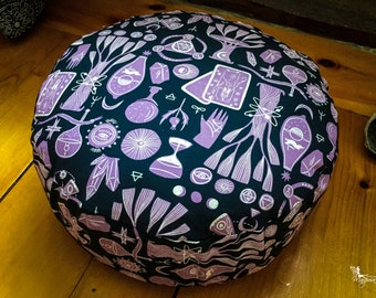 Pouf Zafu Meditation cushion - Ritual - Reversible handmade by Creations Mariposa