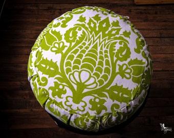 Meditation cushion traditional Zafu cotton - Lime green print -  pillow with handle and velcro closing Organic buckwheat hulls