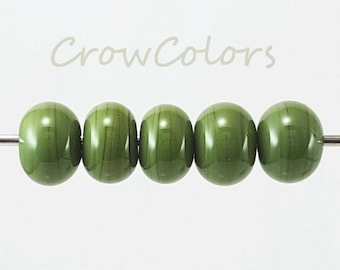 CIM Olive SRA lampwork glass beads - set of 5 rondelles - handmade in USA, camo green with lovely variations in tone - medium & dark