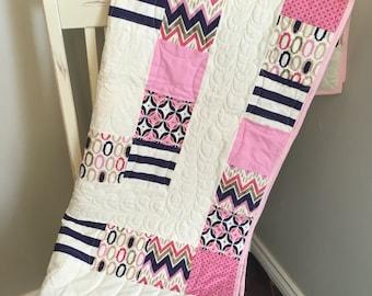 Modern Baby Girl Quilt // Baby Girl Crib Quilt // Purple, Pink, Gold Baby Quilt