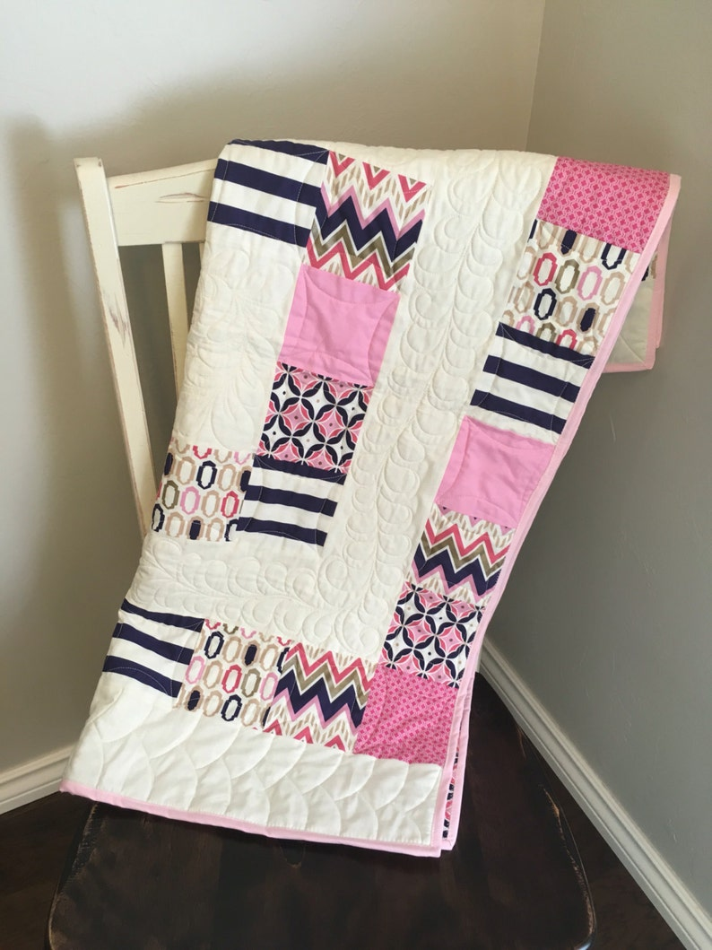 Modern Baby Girl Quilt // Baby Girl Crib Quilt // Purple image 0