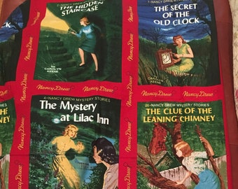 "1 panel Get A Clue With NANCY DREW ""Books Covers Fabric oop"