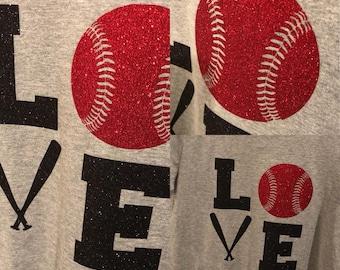 681fed2a6154c LOVE Baseball Glitter Tee new custom on a sports grey tee