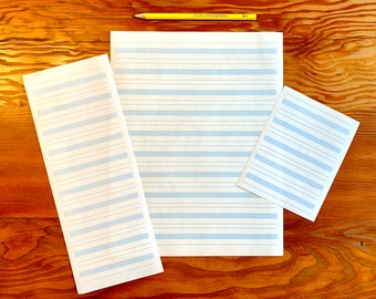 Lined writing paper for Montessori classrooms - blue lines, three sizes, teacher supplies, early literacy