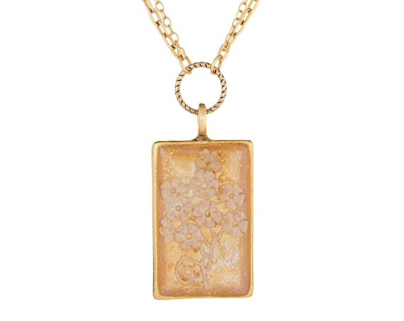 Rectangle Gold Lace Necklace, Made from Wedding Dress Fabric